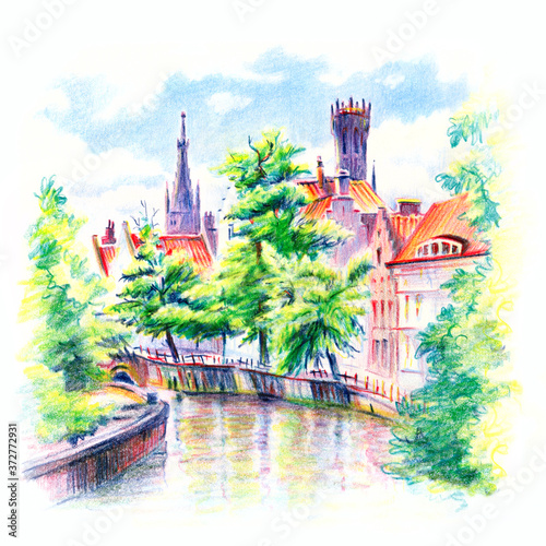 Tableau sur Toile Urban sketch of Steenhouwers canal in Bruges with the belfry in the background, Belgium