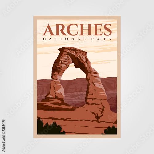 Fotografia arches national park outdoor adventure vintage poster illustration designs