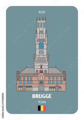 Belfry in Brugge, Belgium Poster Mural XXL