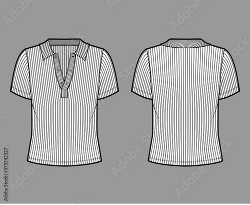 Fotografia Ribbed cotton-jersey polo shirt technical fashion illustration with short sleeves, buttons along the front, oversized