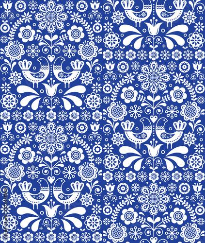 Fotografie, Obraz Scandinavian seamless folk art vector pattern, floral repetitive background with