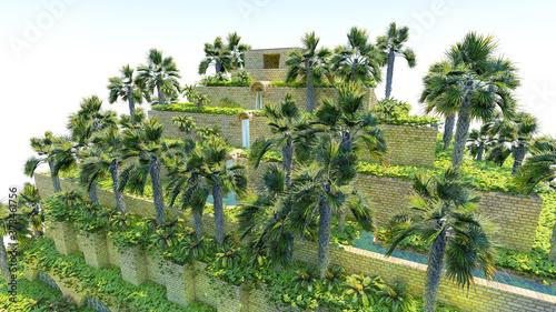 Cuadros en Lienzo Isolatd 3d rendering of Hanging Garden of Babylon