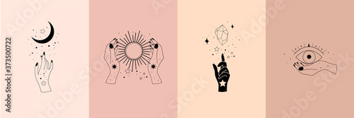 Canvas Print Set of alchemy esoteric mystical magic celestial talisman with woman hands, sun, moon, stars sacred geometry isolated