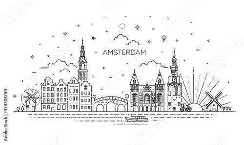 Fotografia Amsterdam travel landmark of historical building thin line icon