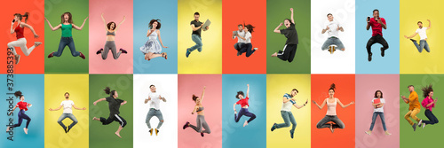 Fototapeta Collage of portraits of 11 young jumping people on multicolored background in motion and action