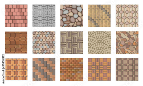 Photo Set of vector street pavements. Top view.