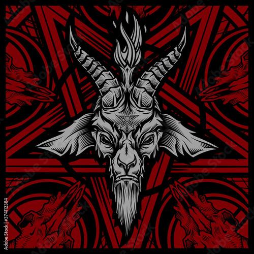 Stampa su Tela Baphomet goat head