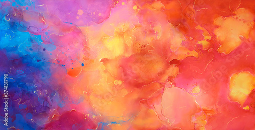 bright Abstract watercolor drawing on a paper image