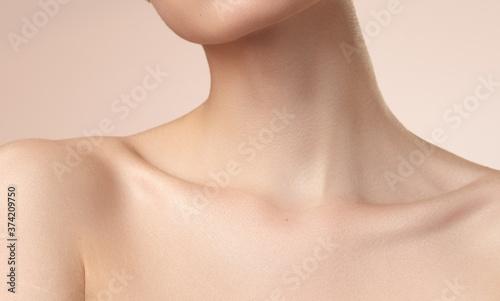 Obraz na plátně women's neck shoulder lips and collarbone on nude background