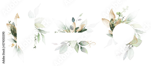 Tela Watercolor invitation Card design with leaves