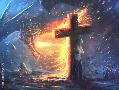 Dragon fire and cross Fototapet