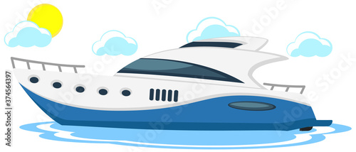 Stampa su Tela Yacht on water with sun and clouds on white background
