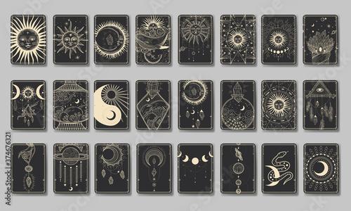 Obraz na płótnie Set of decorative tarot cards