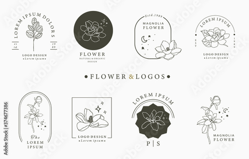Obraz na plátně Beauty occult logo collection with geometric,magnolia,moon,star,flower