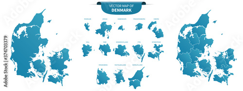 Canvas Print blue colored political maps of Denmark  isolated on white background