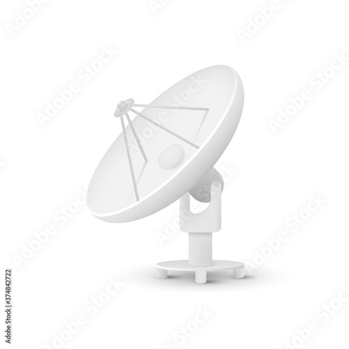 Fotomural Satellite dishes antenna isolated on white background