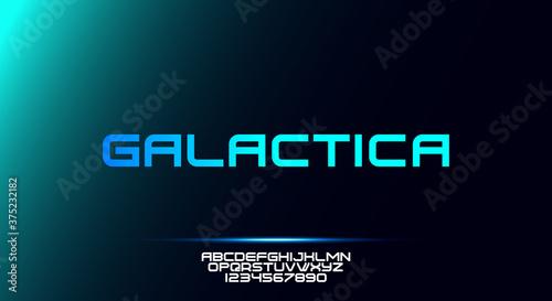 Fényképezés Galactica, a bold modern sporty typography alphabet font