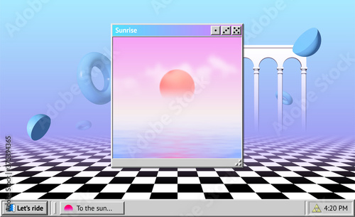 Stampa su Tela Vaporwave abstract background with OS window with sunrise and interface, surreal