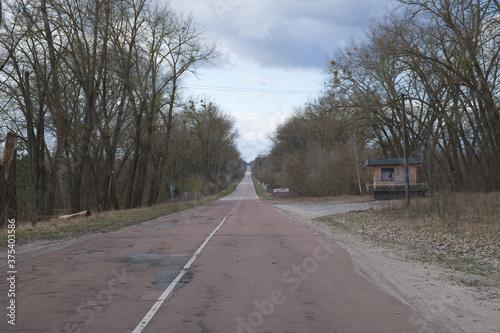 Carta da parati Long straight road to the Chernobyl radioactive exclusion zone.