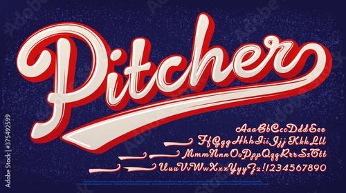 Canvas Print Pitcher script alphabet: A baseball style two-color logo font.