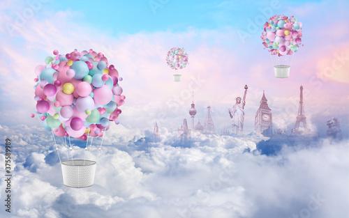 Obraz na płótnie Balonem przez świat