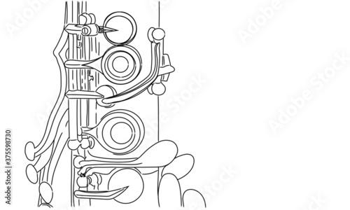 Valokuva clarinet keys in ink strokes