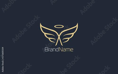 Murais de parede Wing logo formed angel symbol in gold color