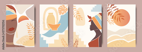 Fotografie, Obraz Vector Set of abstract posters with African woman in turban in minimalistic style
