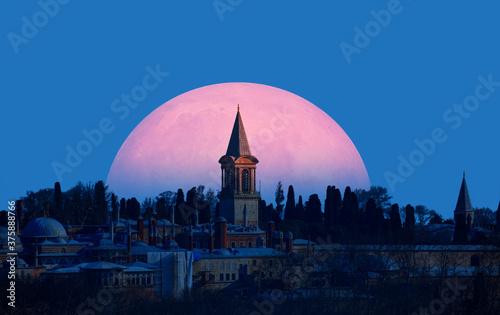 Photo Topkapi Palace with full moon  - Istanbul Turkey Elements of this image furnish