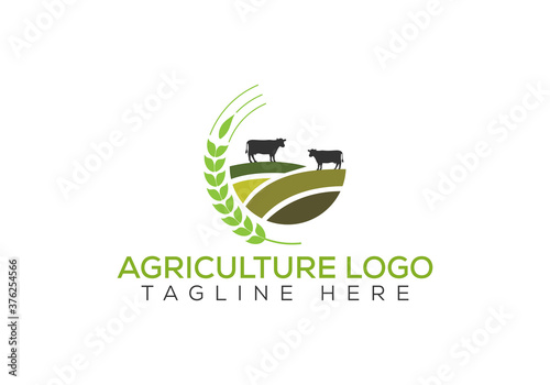 Agriculture and farming with a tractor with cultivator and plow, logo design. Agribusiness, Eco-farm and rural country, vector design.