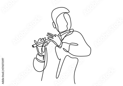 One continuous line drawing of a man playing the flute Fototapeta