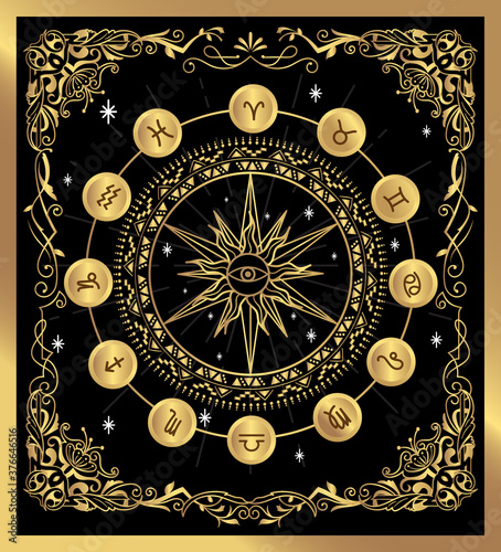Fototapeta Vintage label divine magic occult vector illustration