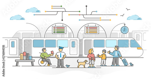 Fotografia Railway network as train transport with passengers station outline concept