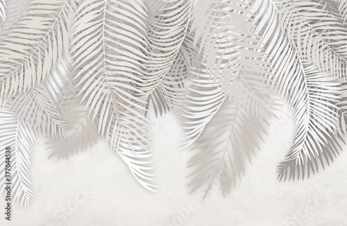 Naklejki na drzwi w liście palmowe na betonowym tle