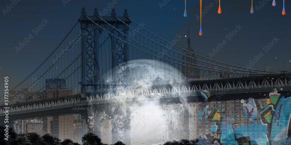 Surreal digital art. Manhattan bridge on New York cityscape. Giant moon, pieces of graffiti. Paint drops. 3D rendering