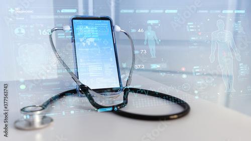 Fotografija Tele medicine concept,Medical Doctor online communicating the patient on VR medi