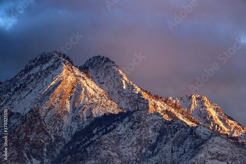 Wallpaper Mural Closeup of Mount Olympus Above Salt Lake City Utah at Sunset in Winter