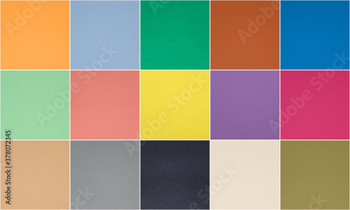 Photo Set of fashionable pantone 10 trendy colors and 5 classic neutral colors of spring-summer 2021 season