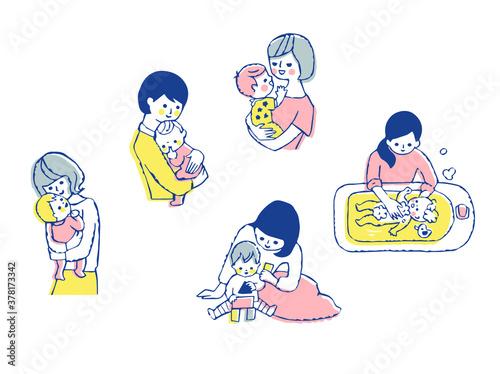 ママと赤ちゃん さまざまなシーン セット Tapéta, Fotótapéta