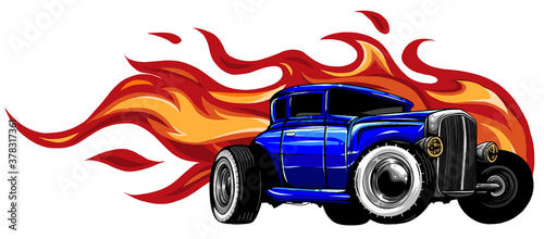 Canvastavla vintage car, hot rod garage, hotrods car,old school car. vector