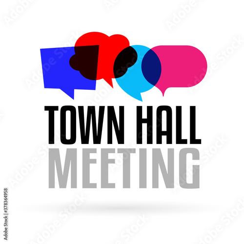 Town hall meeting on speech bubble Fototapeta