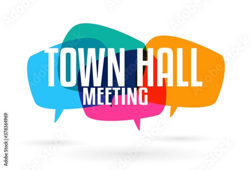 Town hall meeting on speech bubble Tapéta, Fotótapéta