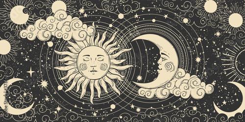 Obraz na płótnie Magical banner for astrology, celestial alchemy