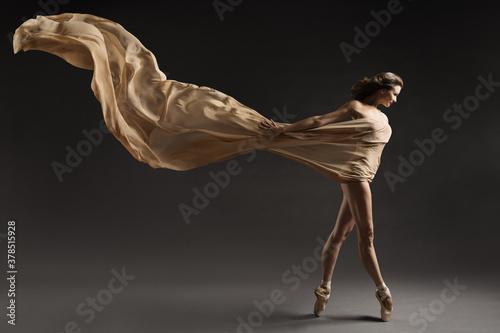 Photo Ballerina Walking with Silk Fabric, Modern Ballet Dancer in Pointe Shoes, Flutte