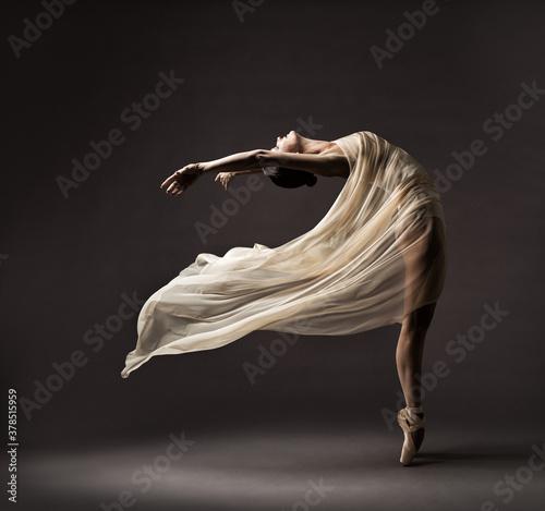Fotografiet Ballerina Dancing with Silk Fabric, Modern Ballet Dancer in Fluttering Waving Cl