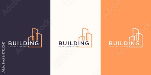 Fotografia work mark real estate logo design with line art style