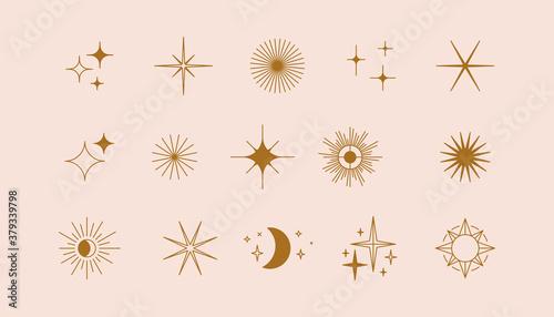 Obraz na płótnie Vector set of linear icons and symbols - stars, moon, sun - abstract design elem