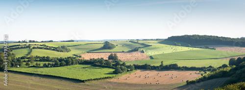 Photo landscape with cornfields and meadows in regional parc de caps et marais d'opale