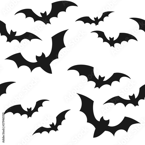 Canvas Print Halloween seamless pattern with black bats on white background