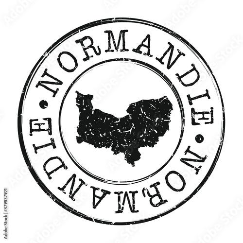 Stampa su Tela Normandy, France Map Postmark